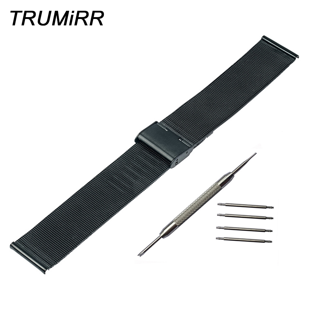 Milanese Watchband +Tool for Tissot T035 <font><b>PRC</b></font> <font><b>200</b></font> Watch Band Mesh Stainless Steel Strap Wrist Bracelet 16mm 18mm 20mm 22mm 24mm image