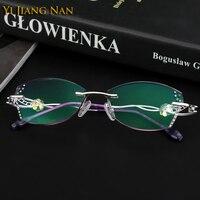 Yi Jiang Nan Brand Diamond Glasses Eyeglasses Titanium Frames Tint Lenses Rimless Fashion Eyeglasses oculos de grau feminino