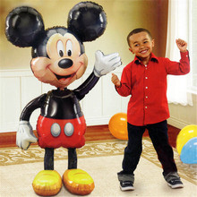 1pcs 110cm Giant Mickey Minnie Mouse Foil Balloons Red Yellow Bowknot Standing Balloon Kids Birthday Party Decorations Globos