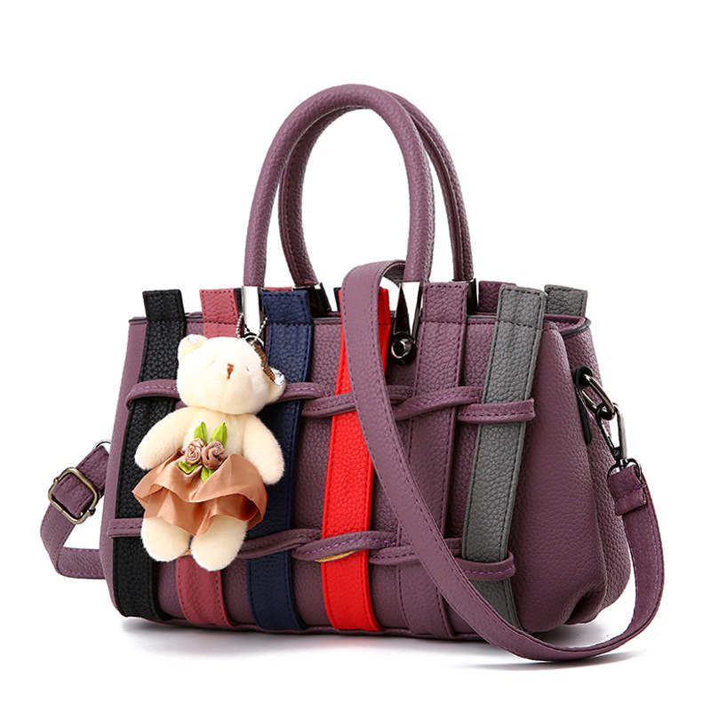 Elegant Casual Purple PU Women Handbag Fashion Office Lady Shoulder Bag Patchwork Decoration Crossbody Messenger deli korea creative book holder 2pcs set metal bookends decorative bookend cute animal book holder for reading support kid gifts