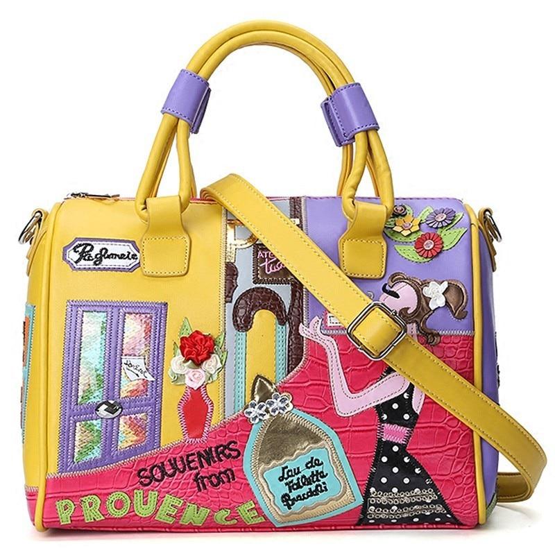 Super quality Women Stitching embroidery Handbag Crocodile pattern large capacity Boston bag Female Luxury Shoulder Bag
