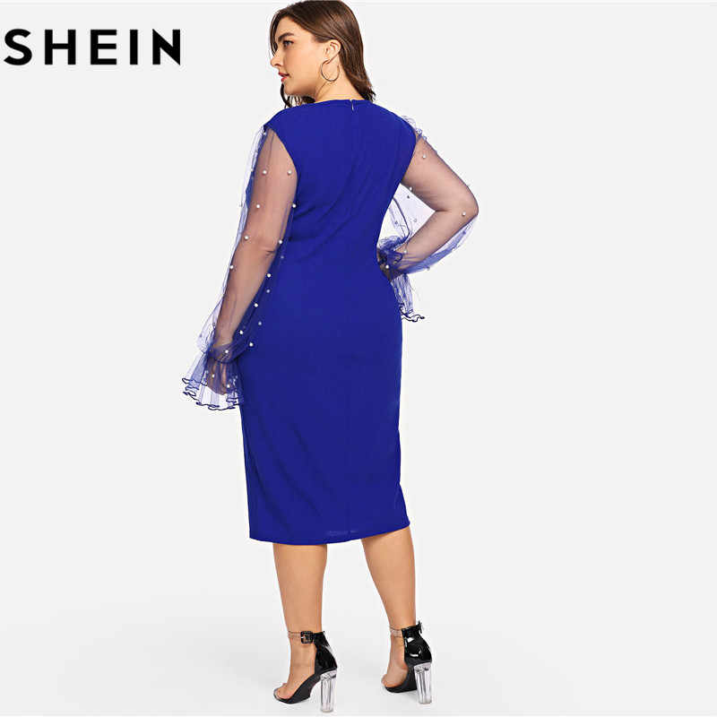 3a9d29524473 ... SHEIN Black Pearl Beading Mesh Ruffle Sleeve Plus Size Elegant Womens Bodycon  Dresses 2018 Blue Stretchy ...
