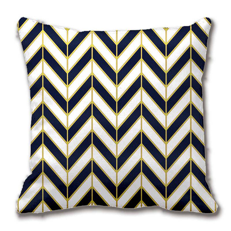 Herringbone Pattern Pillow In Navy White Gold Throw Pillow Case Magnificent Black And Gold Decorative Pillows