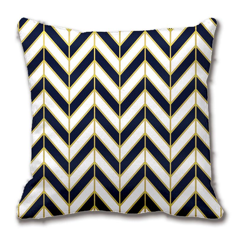 Herringbone Pattern Pillow In Navy White Gold Throw Pillow Case