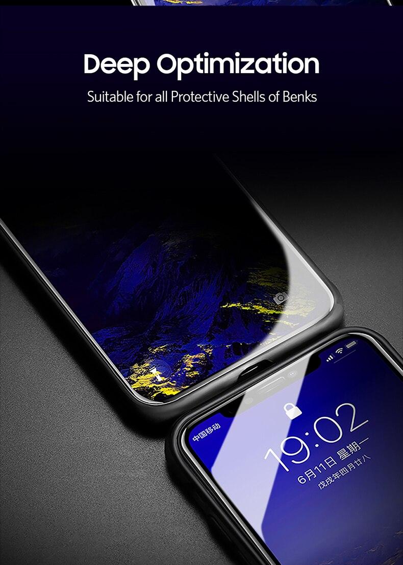 Miếng dán kính cường lực chống nhìn trộm full 3D cho iPhone 11 - 11 Pro - 11 Pro Max - iPhone X - Xs - XR - Xs Max hiệu Benks