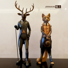 Modern Creative resin Gentleman deer Fox statue vintage home decor crafts room decoration objects animal figurines gifts
