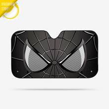 Black Spider Man Avengers Marvel Car Windshield Sunshade Windscreen Solar Protection Auto Zonnescherm Parasole Parasol Coche