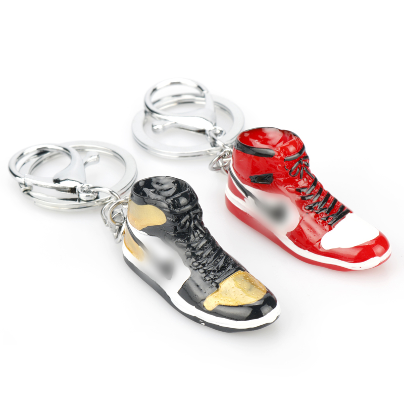 New Mini Shoe Keychain Red Black Men Woman Kids Gift Key Ring Retro Basketball Sneaker Key Chain Car Accessories-50