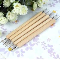5 size set Nail Art Dot Dotting Tools Nail tool 2 Way Wooden Dotting Pen Marbleizing Tool