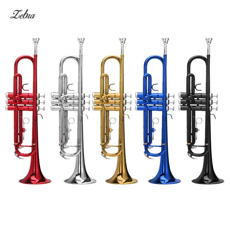 Zebra 54*25*15 cm instrumentos de latón trompeta B abajo trompeta de latón duradera con chapado en plata guantes de boquilla y funda