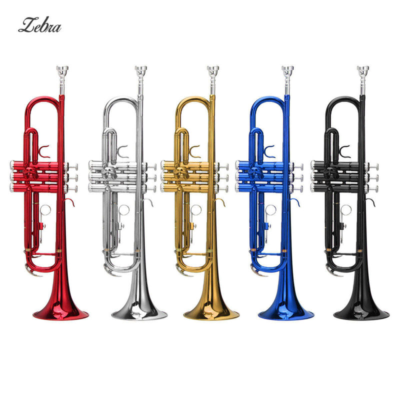 Zebra 54*25*15cm Brass Instruments Trumpet B Down Durable Brass Trumpet with a Silver-plated Mouthpiece Gloves and Case Cover vincent bach trumpet tr 700gs trumpet instruments silvering gold key brass bb trumpet with mouthpiece gloves free shipping
