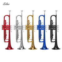 Zebra 54*25*15cm Brass Instruments Trumpet B Down Durable Brass Trumpet with a Silver plated Mouthpiece Gloves and Case Cover