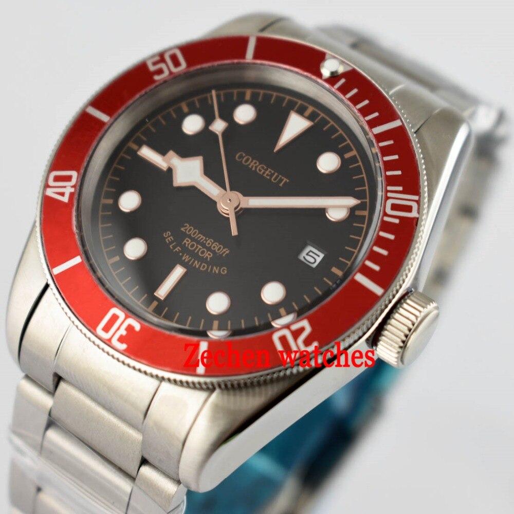 Corgeut 41mm Steel Case Sapphire Glass red bezel Luminous Miyota Automatic Mens Watch polisehd 41mm corgeut black dial sapphire glass miyota automatic mens watch c102