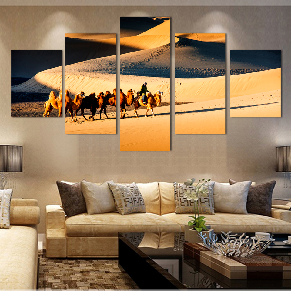 fashion cheap modern home decor canvas painting large view picture hanging painting for home decoration desert - Decoration Maison Moderne Pascher