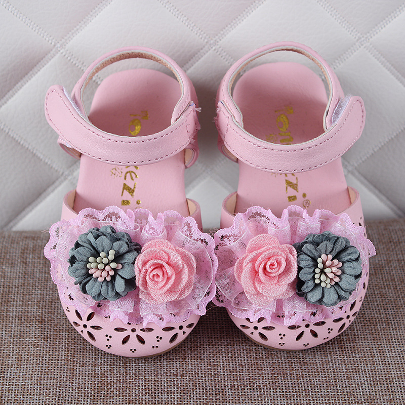 Summer Hot Sale New Designs Floral Baby Sandals  Hot Sale  Leather Sandals Hollow Flowers  Moccasins Child Summer Girls Sandals