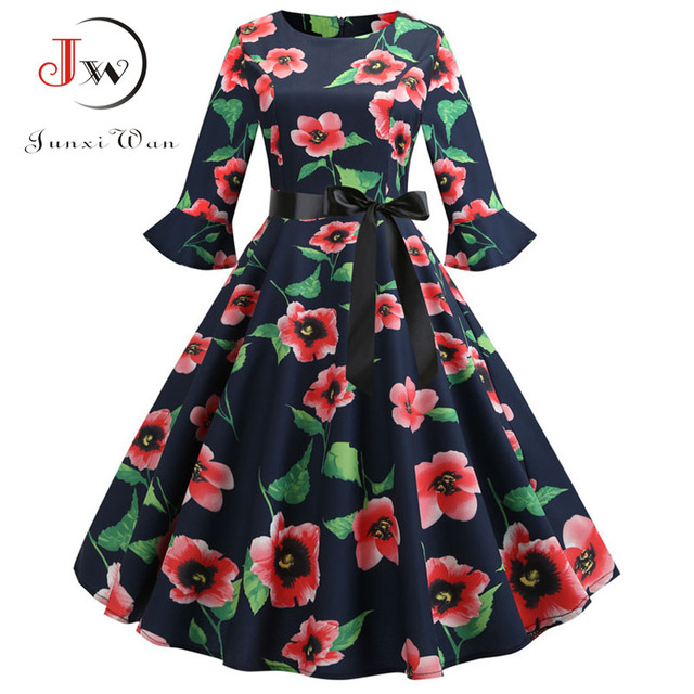 27644247745d Floral Print Vintage Dress Christmas Dress Women Winter Elegant Party  Dresses Petal Sleeve Casual Midi Dress Plus Size