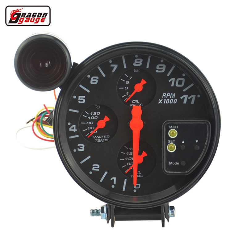 цена на New 4 IN 1 car Mdified Water temperature gauge Oil temp gauge Oil pressure gauge Tachometer With sensors Auto Racing modified