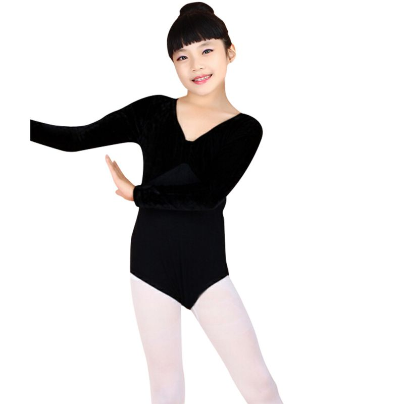 a3d4a3ff0 Venta caliente niños Niñas manga larga Ballet Gimnasia bodysuit Dance  leotard algodón danza
