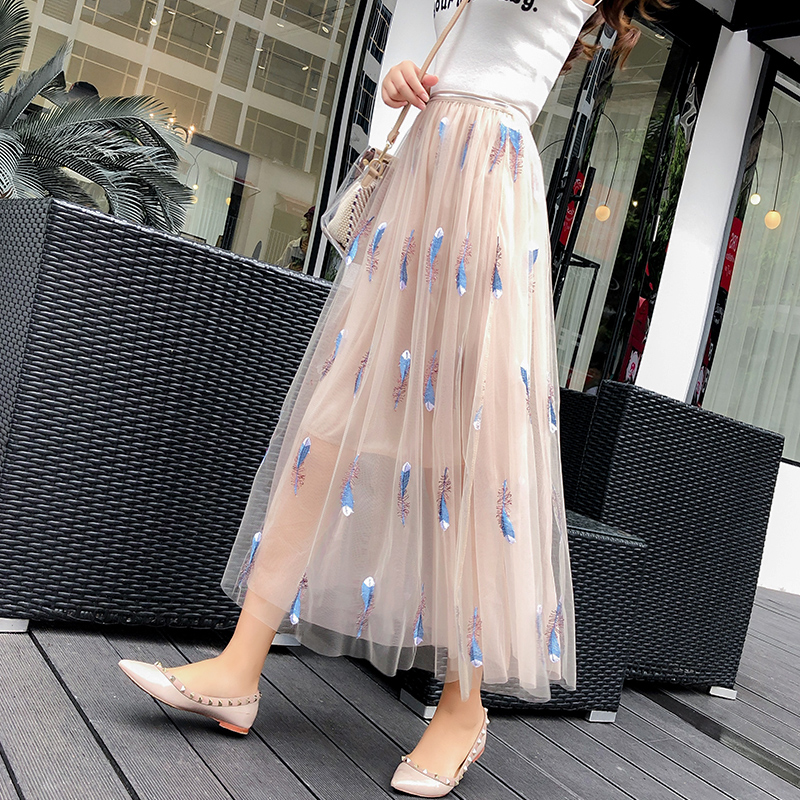 feather embroidery skirts women 2018 summer new long  high-waist slim all-match elegant lady skirt top quality