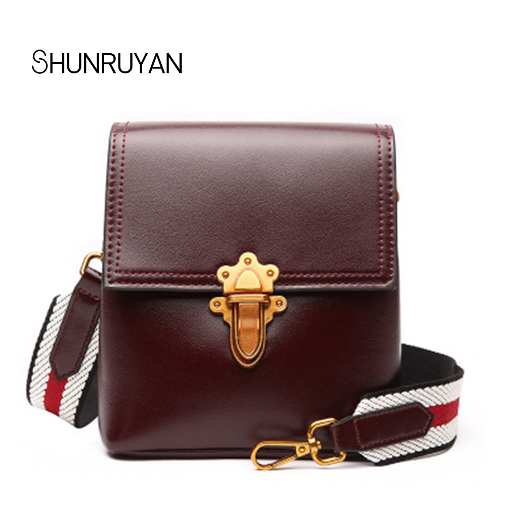 SHUNRUYAN New Brand Design Ladies High Quality Genuine Leather Fashion small Flap Stars model shoulder bag cross body bags