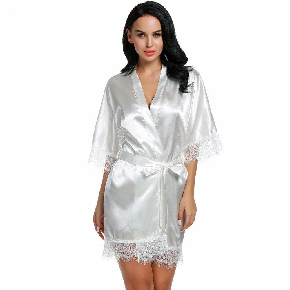 c578c50275 Sexy Wedding Bridal Dressing Gown Women Satin Bride Robe Bridesmaid Lace  Kimono Bathrobe Summer Nightwear Plus Size Peignoir Red-in Robes from  Underwear ...
