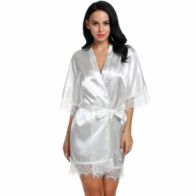 Sexy Wedding Bridal Dressing Gown Women Satin Bride Robe Bridesmaid Lace  Kimono Bathrobe Summer Nightwear Plus 86d30b3f9
