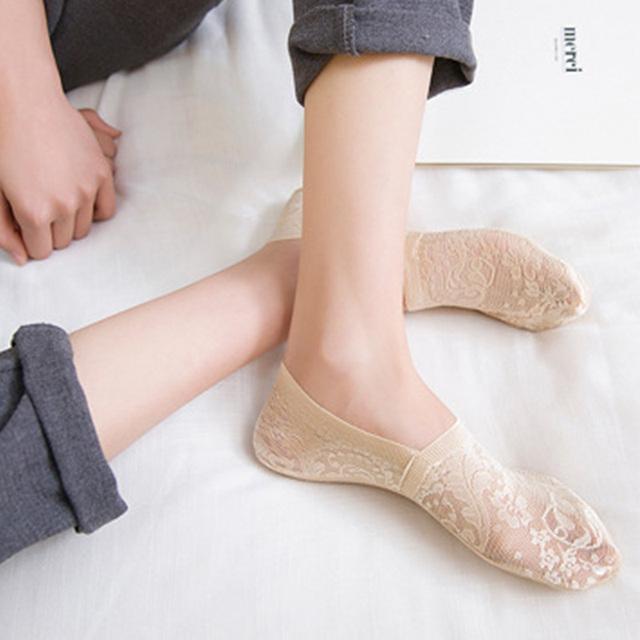 Summer Socks Style Lace Flower Short Sock Antiskid Invisible Ankle Sokker