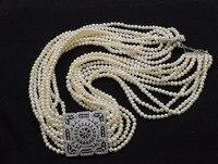 Один набор 10 рядов пресноводный жемчуг Белый округлый 3 5 мм ожерелье/браслет 17 22 дюймов FPPJ бусы оптом природа Циркон квадратный