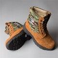 Los Hombres al aire libre Botas de Cuero Genuino Botas de Invierno de Trabajo y Seguridad Real Lana de Felpa Caliente Del Ejército de Los Hombres Zapatos de Herramientas de Trabajo de arranque