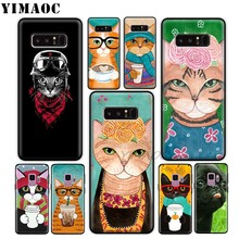 YIMAOC Cat And Coffee Pig Soft Silicone Case for Samsung Galaxy A9 A8 A6 Plus 2018 A5 A3 2017 2016 Note 9 8(China)