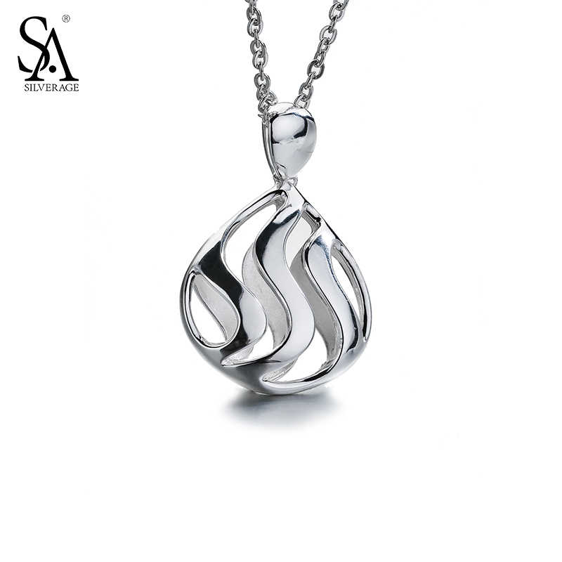 SA SILVERAGE 925 Sterling Silver Long Necklaces Pendants for Women Fine Jewelry Hollow Wave 2018 New Design