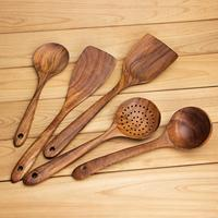 Cooking Utensils Wooden Kitchen Utensil Set AOOSY 5 Piece Wood Cooking Spoons Tools for Nonstick Cookware (Soup Spoon,