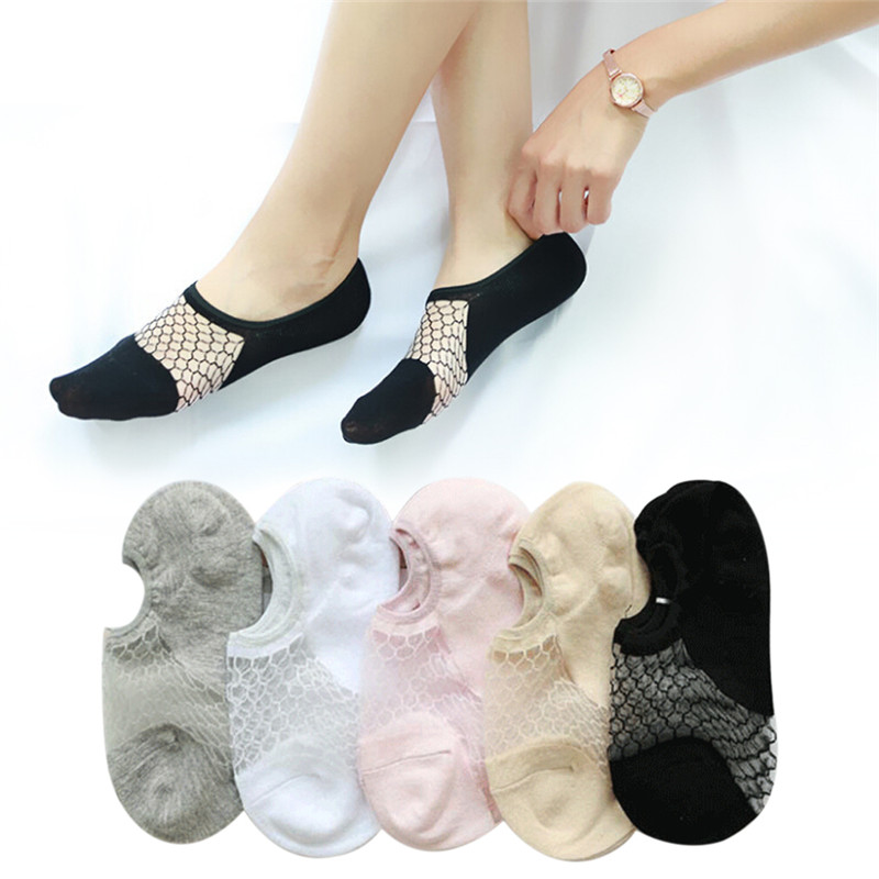 2018 New Transparent Short Lace Socks Women Summer Hollow Out Boat Socks Slippers Female Soft Low Invisible Socks Hot Sale