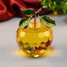Free Shipping Crystal Apple Wedding Decoration Gift Home Decoration Desktop Decoration 8CM Crystal Apple Christmas gift