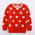 Fashion Girls Sweater Bear Jacquard Kids Princess Red Sweater Children Clothes