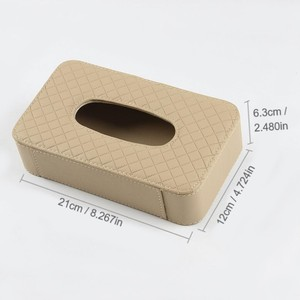 Image 2 - PU leather tissue box car tissue holder sun visor hanging napkin storage box, used for car finishing car accessories