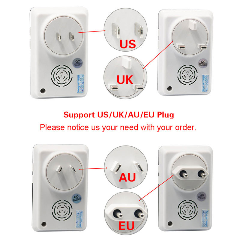 Waterproof led light doorbell eu us uk au plug in wireless