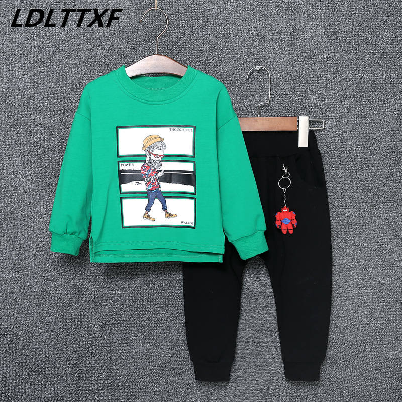 Autumn Children Clothing Sets kids Warm Long Sleeve Cartoon Character Cotton Sweaters Pants Boys Clothes Sports Suit for Girls