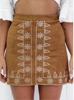 Feitong 2016 New Black Khaki Empire Tube Suede Skirt Women Plus Size Fashion Mini Basic Skirts