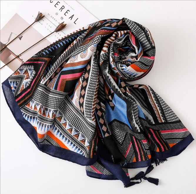 Vintage Contrast geometric leaf desert national wind scarf Women long silk scarf shade travel big shawl in Women 39 s Scarves from Apparel Accessories