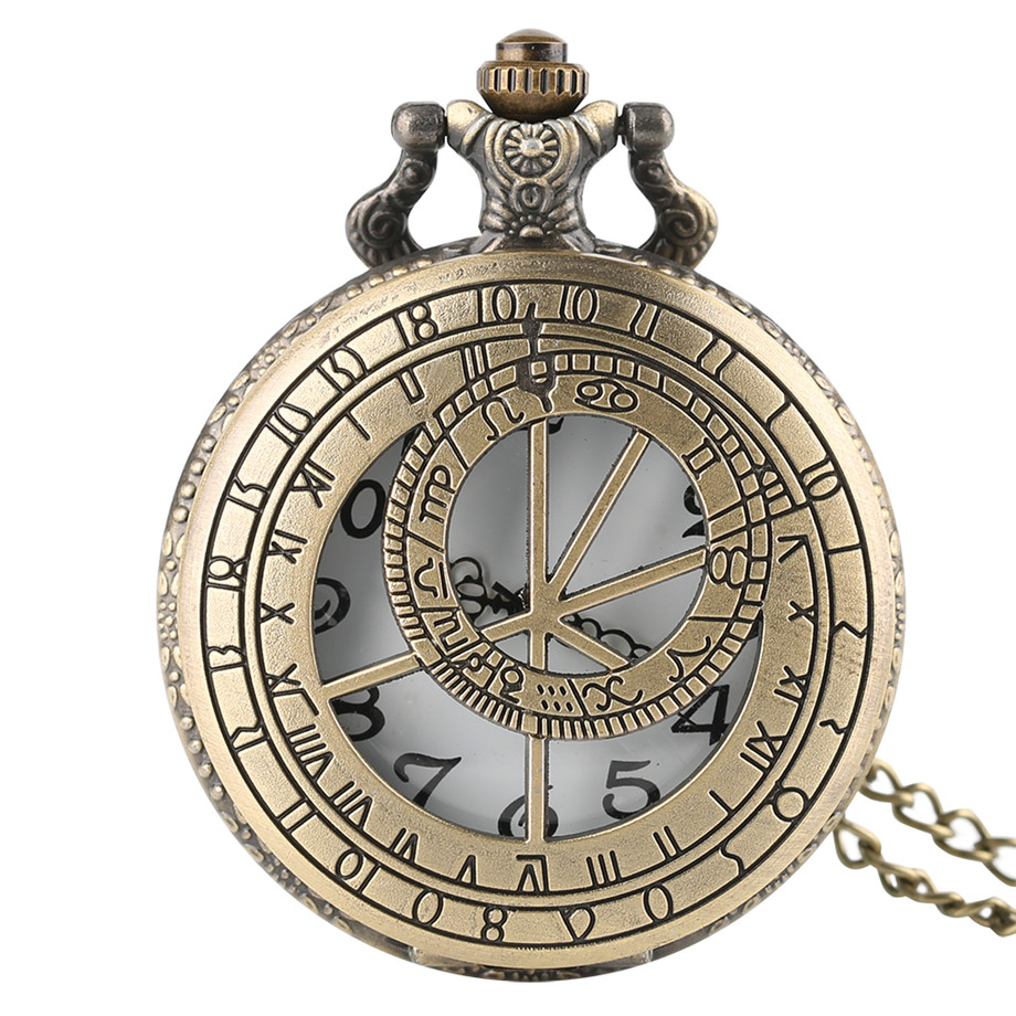 Retro Prague Astronomical Clock Necklace For Men Women Unisex Pocket Watch Pendant Friends Gift Quartz Watches With Chain 2018