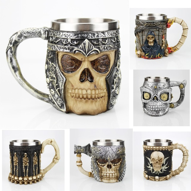 516e018352ac Stainless Steel Skull Mug Contain Viking Skeleton Death Grim Knight Coffee  Beer Tankard Mugs BEST Halloween Man Gift-in Mugs from Home & Garden on ...