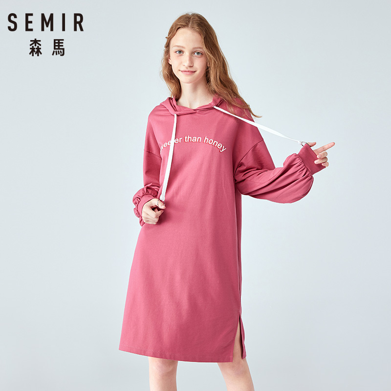 SEMIR 2019 Autumn New Loose Dress Women Drawstring Hood Pullover Long Sleeve Simple Cotton Dress Woman Flower Printing