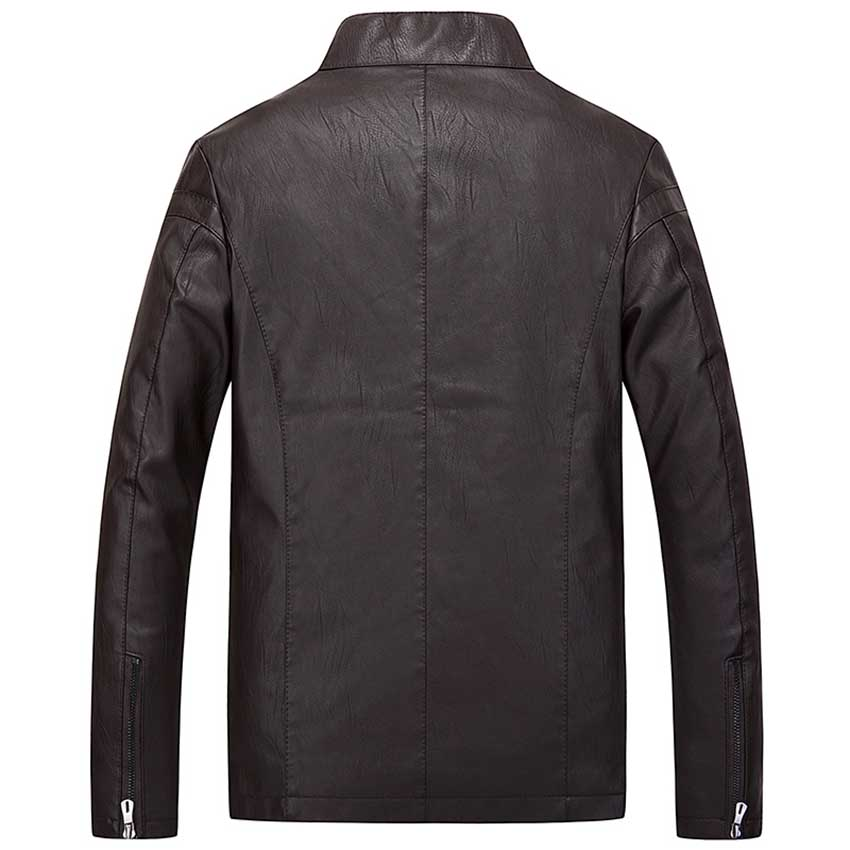 Hommes robe 2018 nouveauté hommes mode punk fan voiture en cuir veste hommes de mode col en cuir pu manteau Chaqueta de cuero - 5