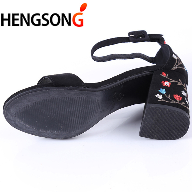 HENGSONG Women Sandals Embroider High Heel Women Sandals Ethnic Floral Sandalias Muje Party Shoes Zapatos Mujer TR913149 2