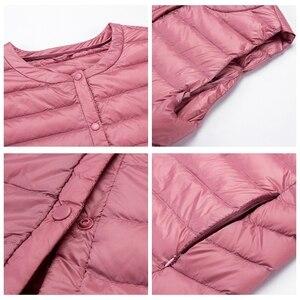 Image 5 - NewBang מותג קל במיוחד למטה אפוד נשים ארוך אפוד קל Windproof חם חזייה נשי למטה מעיל ארוך Slim ללא שרוולים