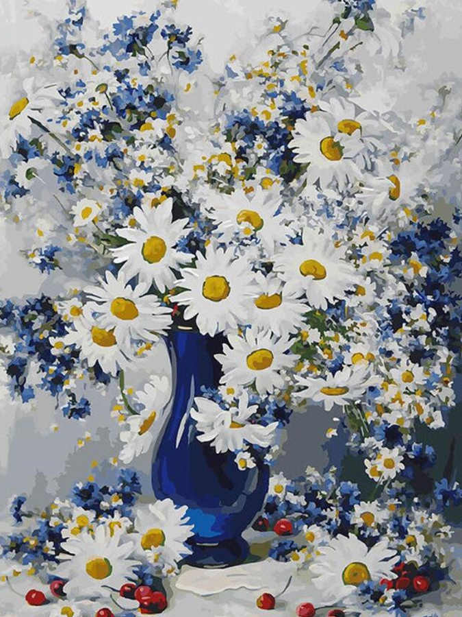 100%5D Round DIY Diamond Embroidery A vase of Daisy Diamond Painting Full Diamond Mosaic Needlework Crafts Home Paintings