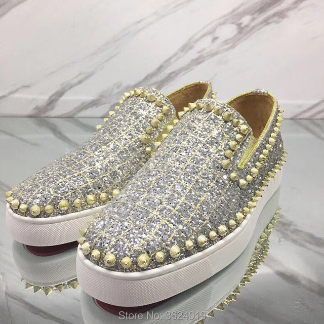 75ee526983c Low-Cut Shoes cl andgz Men Silver One circle spiral Rivets Blingbling Red  bottom Shoes Sneakers Leather Loafers 2018 Footwear