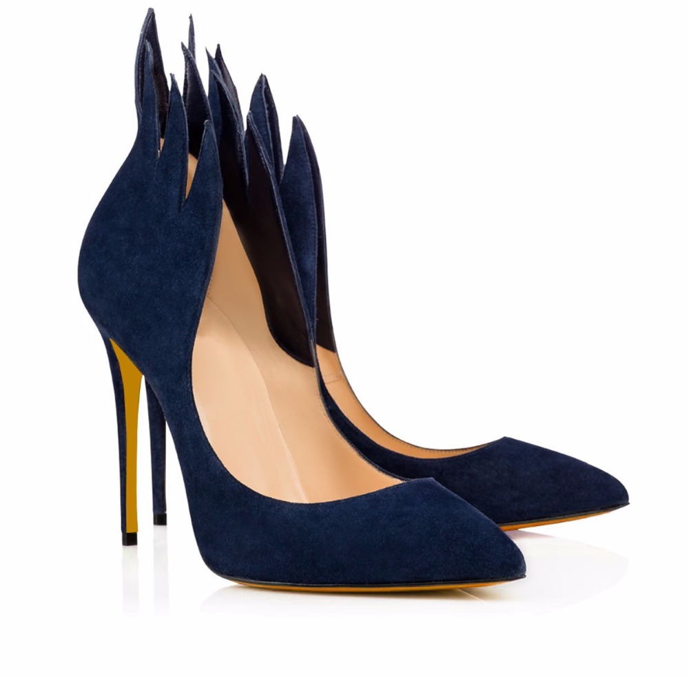 High Heel Pumps Black Suede Pointed toe Stiletto Heel Shoes Blue Red Evening Dress Heels Court Shoes 4