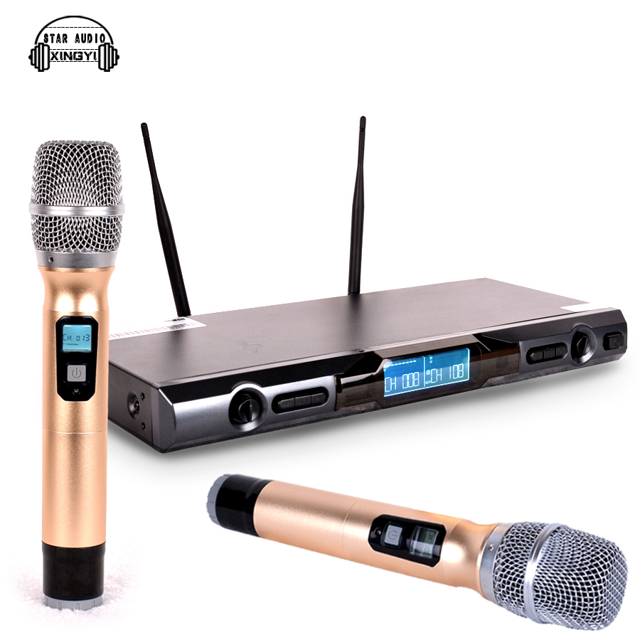 professional uhf wireless microphone system dual handheld mic with receiver 2 channels display. Black Bedroom Furniture Sets. Home Design Ideas